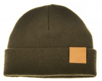 Ahrex Tight Knit Leather Patch Beanie - Loden